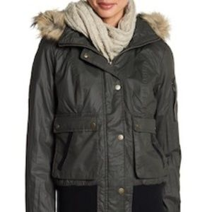 Sebby Waxy Faux Shearling Faux Fur Hooded Bomber